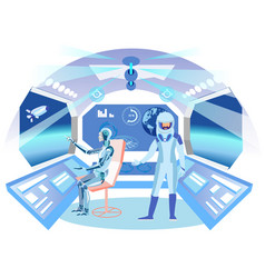 Humanoid astronaut in spaceship flat vector