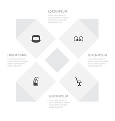 Icon set of hipster eyesight barbershop an vector