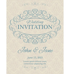 invitation with calligraphy design elements vector image