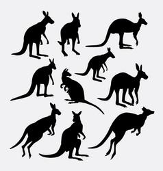 Kangaroo wild mammal animal silhouette vector