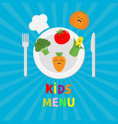 Kids menu card fork plate knife and chefs hat vector
