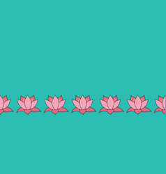 lotus flowers border lily flower on blue vector image