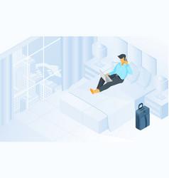 Man working online in hotel room isometric vector