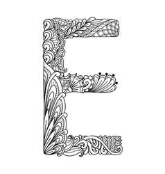 Mandala letter e monogram adult coloring book vector