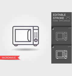 microwave oven line icon with editable stroke vector image