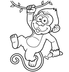 Monkey outline vector