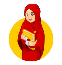 Muslim Woman with Hugging a Book Wearing Red Veil vector