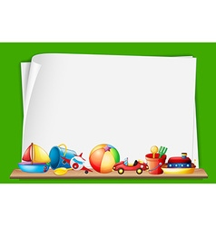 Paper template with toys in background vector