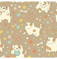 Pattern with cute puppy vector image