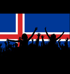people silhouettes celebrating iceland national vector image