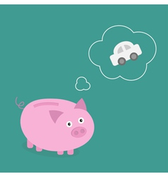 Piggy bank dream about car Think bubble contour vector