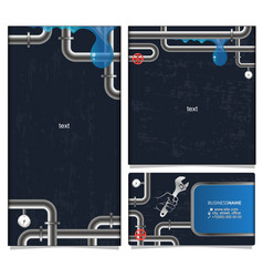 Plumbing banner and business card vector