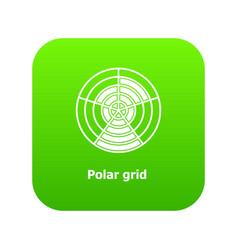Polar grid icon green vector