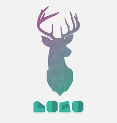 Polygonal hipster logo with lion of deer in mint vector