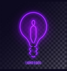 Purple neon lightbulb logo vector