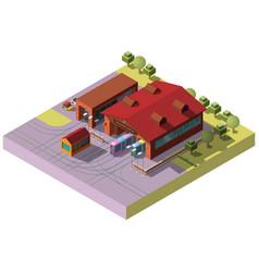 Railway transport depot hangar isometric vector