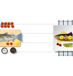 Raw fresh salmon fish and grilled salmon steak vector