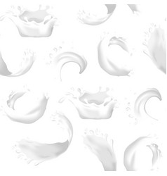 realistic detailed 3d milk splash seamless pattern vector image