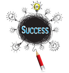 red pencil idea concept blue success business vector image