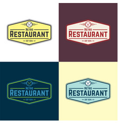 retro restaurant logo vector image