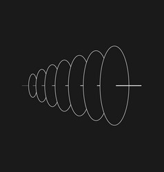 Retrofuturistic plane circles with one axis cyber vector
