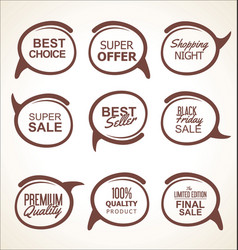 sale and quality sticker collection vector image
