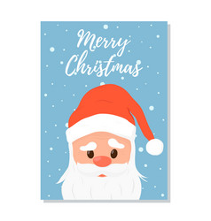 santa claus hat christmas postcard poster vector image