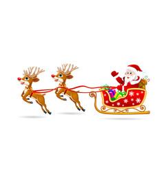 santa on sleigh with deer vector image