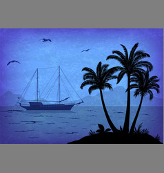 Sea landscape with palm and ship vector