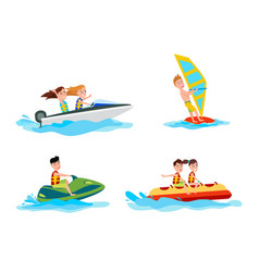Sea water activities of summer vector