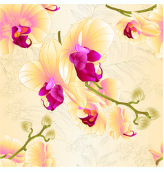 Seamless texture branches orchids yellow vector