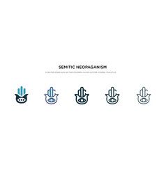 Semitic neopaganism icon in different style two vector
