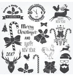 set merry christmas and happy new year 2017 vector image