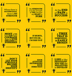 Set motivational quotes about struggle strength vector
