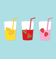Set Of Fruit Juice Glasses vector image