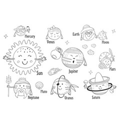 set of isolated cartoon funny planets vector image