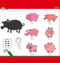 Shadows activity game with pigs animals vector