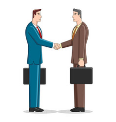 simple cartoon businessmen shaking hand vector image