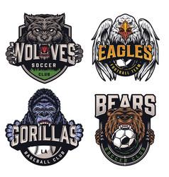 Soccer and baseball teams vintage badges vector