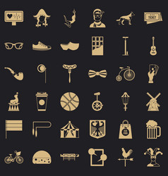 sporting bike icons set simple style vector image