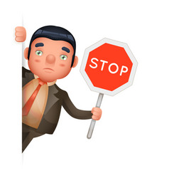 stop sign hold in hand businessman look out corner vector image