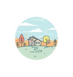 Suburban house in autumn vector