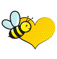 sweet bee flies and honeycomb heart vector image