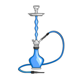 the hookah object is blue on a white background vector image