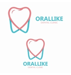 Tooth and heart logo template vector