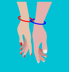two rings connect the hands of a couple in love vector image