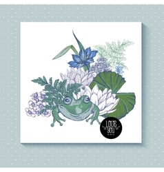 Vintage pond watery flowers greeting card vector image