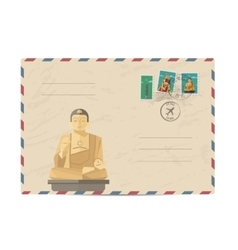 Vintage postal envelope with Taiwan stamps vector