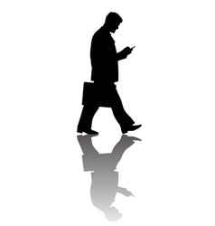 walking businessman with suitcase looking at vector image