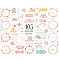 Wedding vintage elements big collection vector